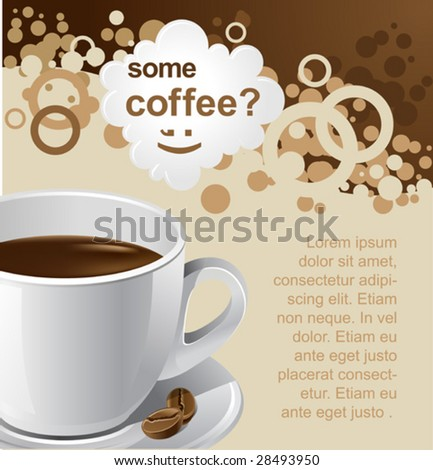 vector coffee background for your promotion. There are a number of SIMILAR backgrounds in my portfolio ;) Please, take a look ! - stock vector