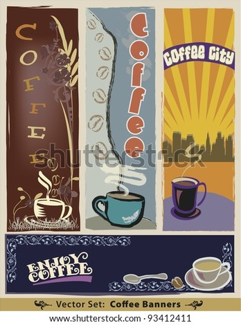 Vector Coffee Banner Set:  Four unique designs featuring mug illustrations, and suggested text