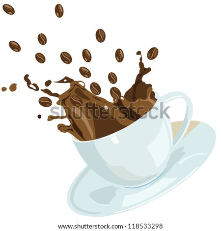 Vector coffee cap with splash and coffee beans, can be use for restaurant and cafe menu, wallpaper, print materials, decoration