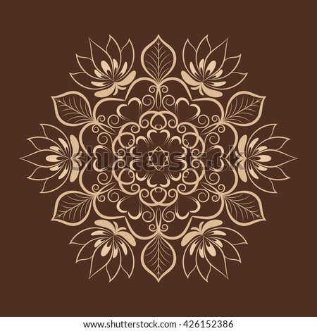 Vector coffee color flower mandala over dark brown. Invitation element. Tattoo, astrology, alchemy, boho and magic symbol for your projects - stock vector