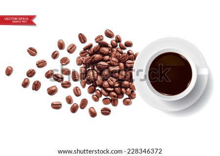 Vector coffee cup and coffee beans on white background. - stock vector