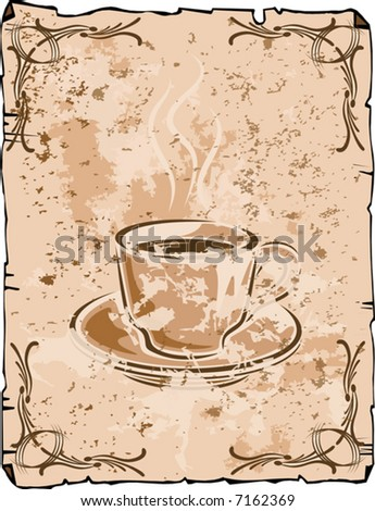 Vector coffee cup background, old grungy version - stock vector