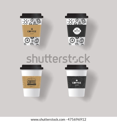 vector  coffee cup design template mock up  with  paper patterns texture  background design .