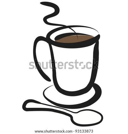 Vector Coffee Cup Illustration:  Simple, clean drawing of cup of coffee with spoon. - stock vector