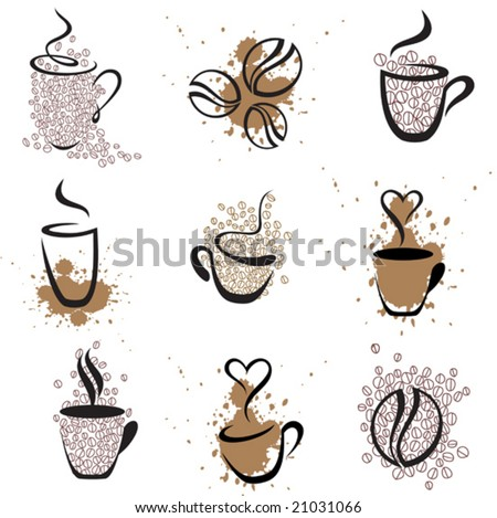 vector coffee elements,  see also image  21031069 - stock vector