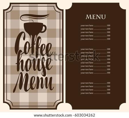 Vector Coffee House Menu Template Price Stock Vector 603034262 ...