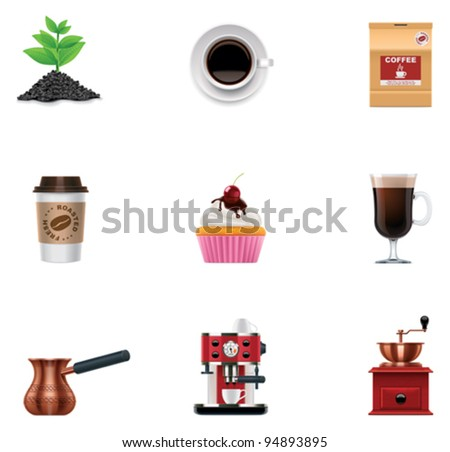 Vector coffee icon set - stock vector