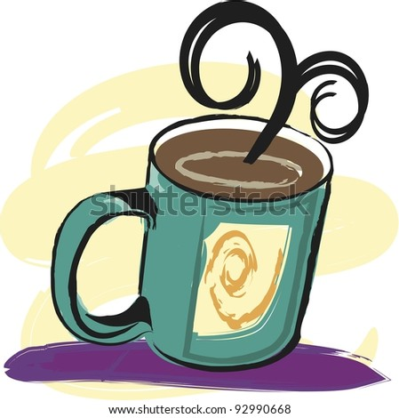 Vector Coffee Illustration:  coffee steaming in teal mug. - stock vector
