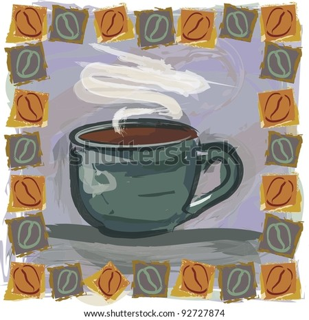Vector Coffee Illustration:  Hand drawn style mug with coffee and unique border. - stock vector