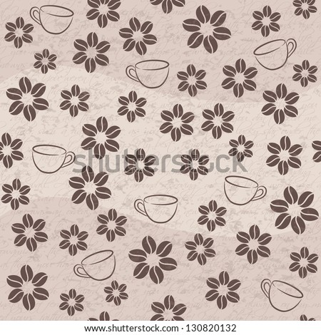 Vector coffee seamless background with cups and flowers - stock vector