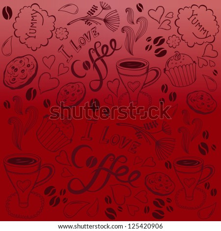 Vector coffee seamless pattern/red. - stock vector