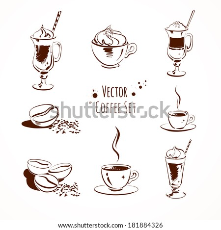 Vector coffee set. Isolated.  - stock vector