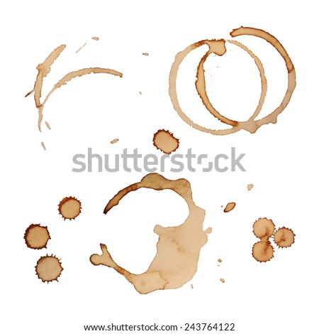 Vector Coffee Stain Rings Set Isolated On White Background for Grunge Design. Set 3 - stock vector