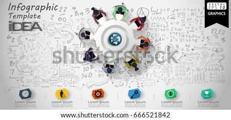 Vector Cog and  orb - Brainstorm Businessman and Lady- Background Calculate numbers, graph,modern design Idea and Concept - illustration Business - Idea text- Infographic template.