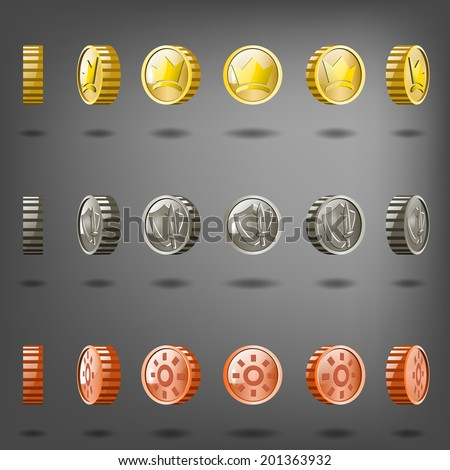 Vector coin rotation gold copper silver. - stock vector