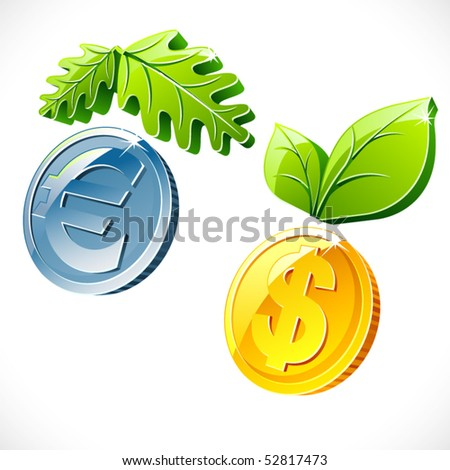 Vector coin with leafs - stock vector