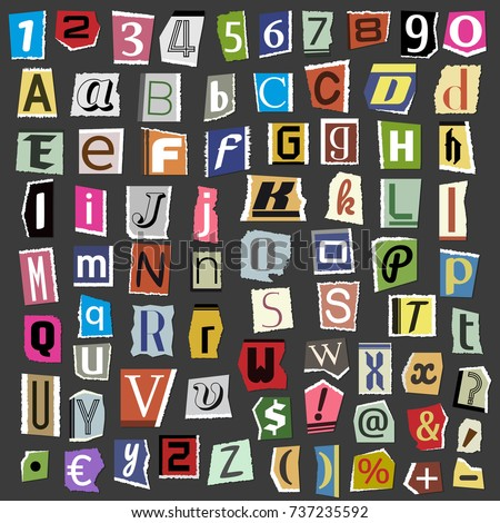 Vector collage alphabet letters made newspaper stock vector 2018 vector collage alphabet letters made from newspaper magazine abc paper text cut type typography sign illustration spiritdancerdesigns Images