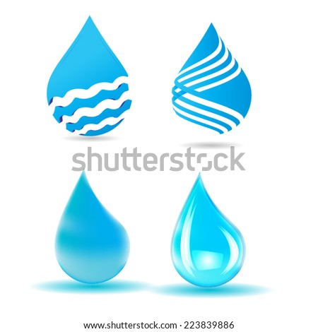 Vector Collection Blue Shiny Water Drop Isolated on the White Background . Logo Design . - stock vector