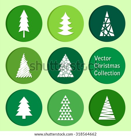 vector collection: christmas and new year spruce icons - stock vector