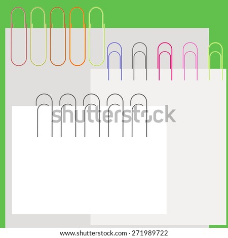 Vector Collection Colorful Paper Clips and Papers. Office Supplies. - stock vector