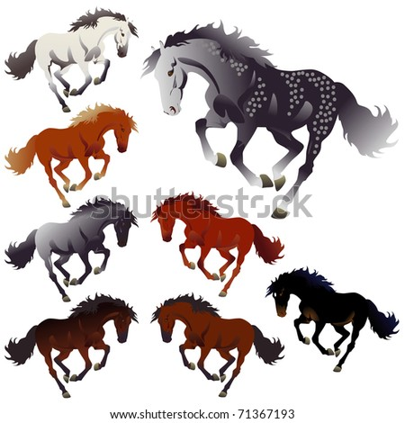 Vector collection colors of horses - stock vector