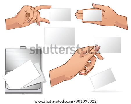 Vector collection hand hold blank business cards and isolated mockup  - stock vector