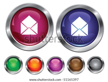 Vector collection icons with mail sign, empty button included - stock vector