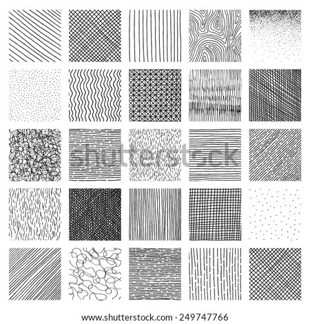 Vector collection ink hand drawn hatch texture, ink lines, points, hatching, strokes and abstract graphic design elements isolated on white background - stock vector