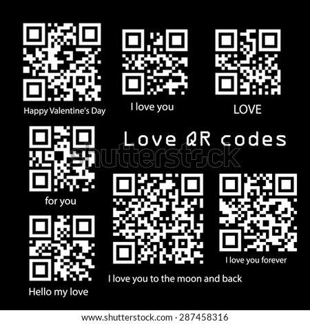 Vector collection love QR codes for your design. Stock vector. Love QR codes. Valentines day. - stock vector
