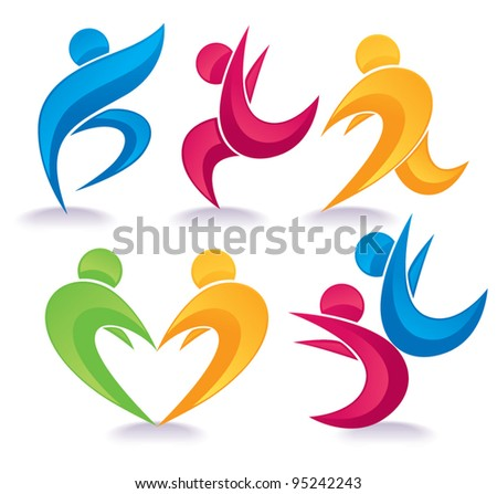 vector collection of abstract active people doing fitness - stock vector