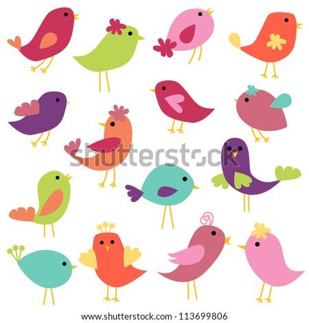 Vector Collection of Abstract Birds - stock vector