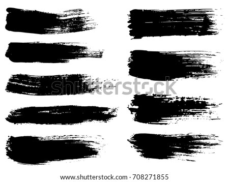 Vector Collection Artistic Grungy Black Paint Stock Vector HD