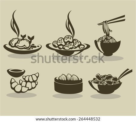 vector collection of asian food symbols - stock vector