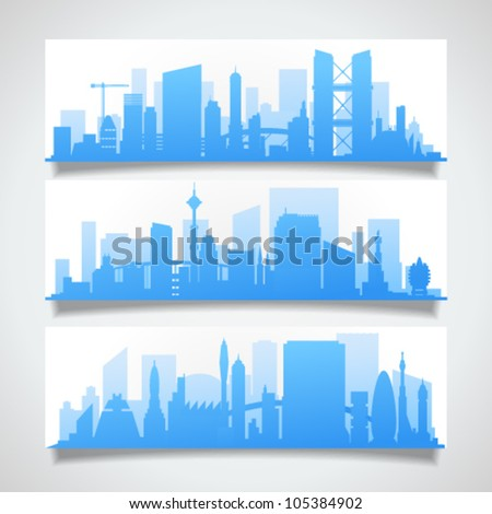 Vector collection of banners with modern town skylines with reflection on the white background. Image contains transparency in banner shadows and can be placed on every surface, EPS 10