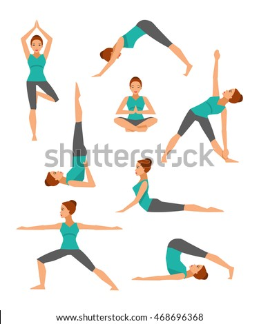 Vector Collection Basic Yoga Asanas Healthy Stock 468696368