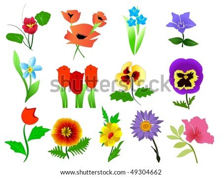 vector collection of beautiful garden - stock vector