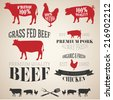 Vector Collection of Beef, Chicken and Pork Labels in Vintage Style - stock vector
