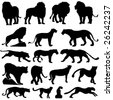 vector collection of big cat silhouettes - stock vector