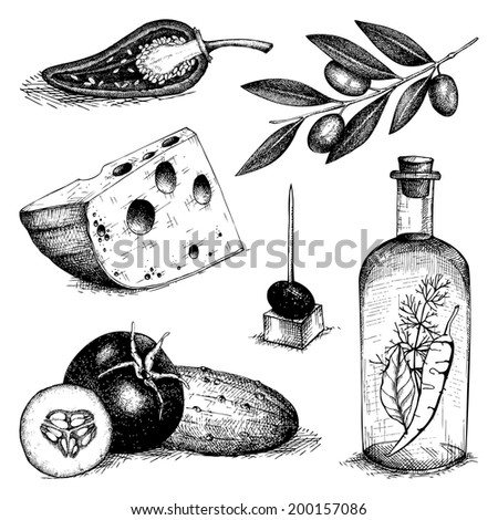 Vector collection of black  ink hand drawn food - olive oil, cheese, vegetables. Vintage healthy food illustration. Decorative  engraved  food isolated on white. - stock vector