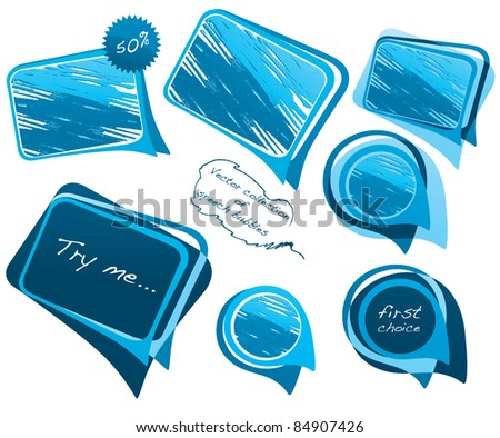 vector collection of blue bubble speech - stock vector