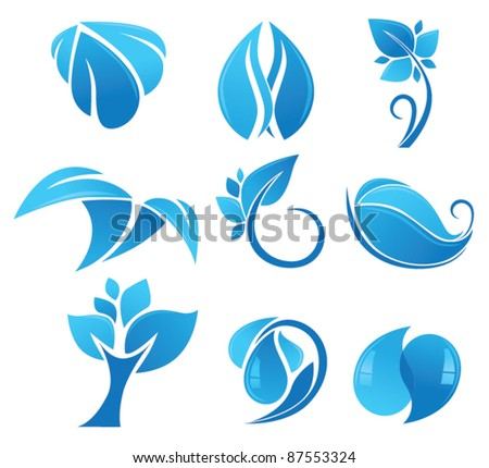 vector collection of blue environment icons - stock vector