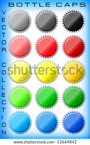 vector collection of bottle caps - stock vector