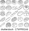 vector collection of breads in line art - stock vector