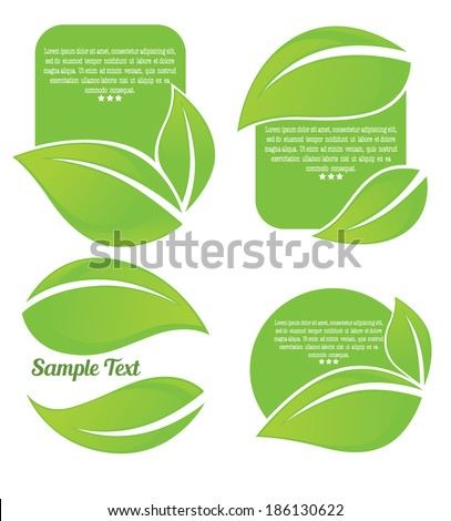 vector collection of bright green leaf frames and stickers - stock vector