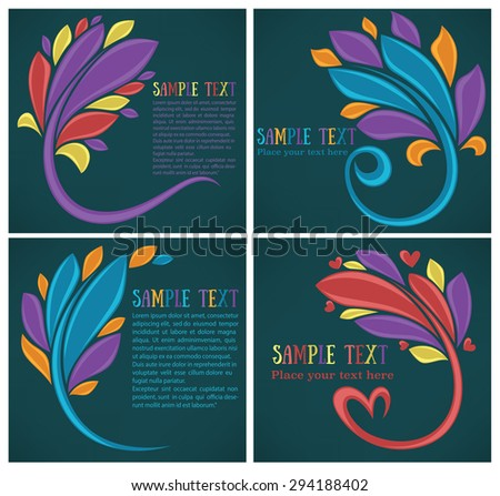 vector collection of bright leaf frames and symbols - stock vector
