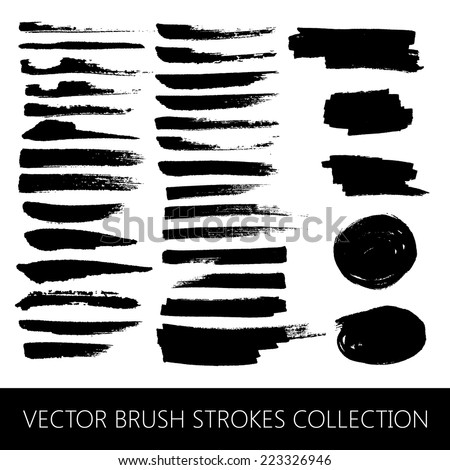 vector collection of brush strokes and marker stains - stock vector