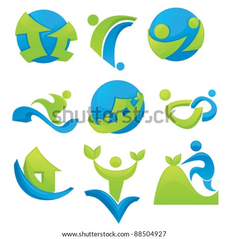 vector collection of business icons, homes people, communication and ecological