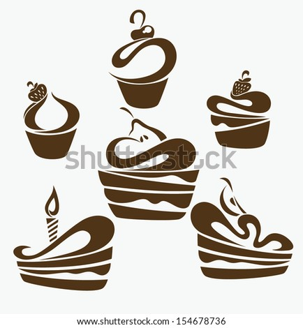 Vector collection of cakes images, symbols and emblems - stock vector