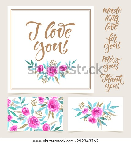 Vector collection of cards template.  Watercolor elements and patterns, calligraphic phrase. Spring or summer design for invitation, wedding or greeting cards - stock vector