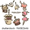 vector collection of cartoon cakes and sweets - stock vector